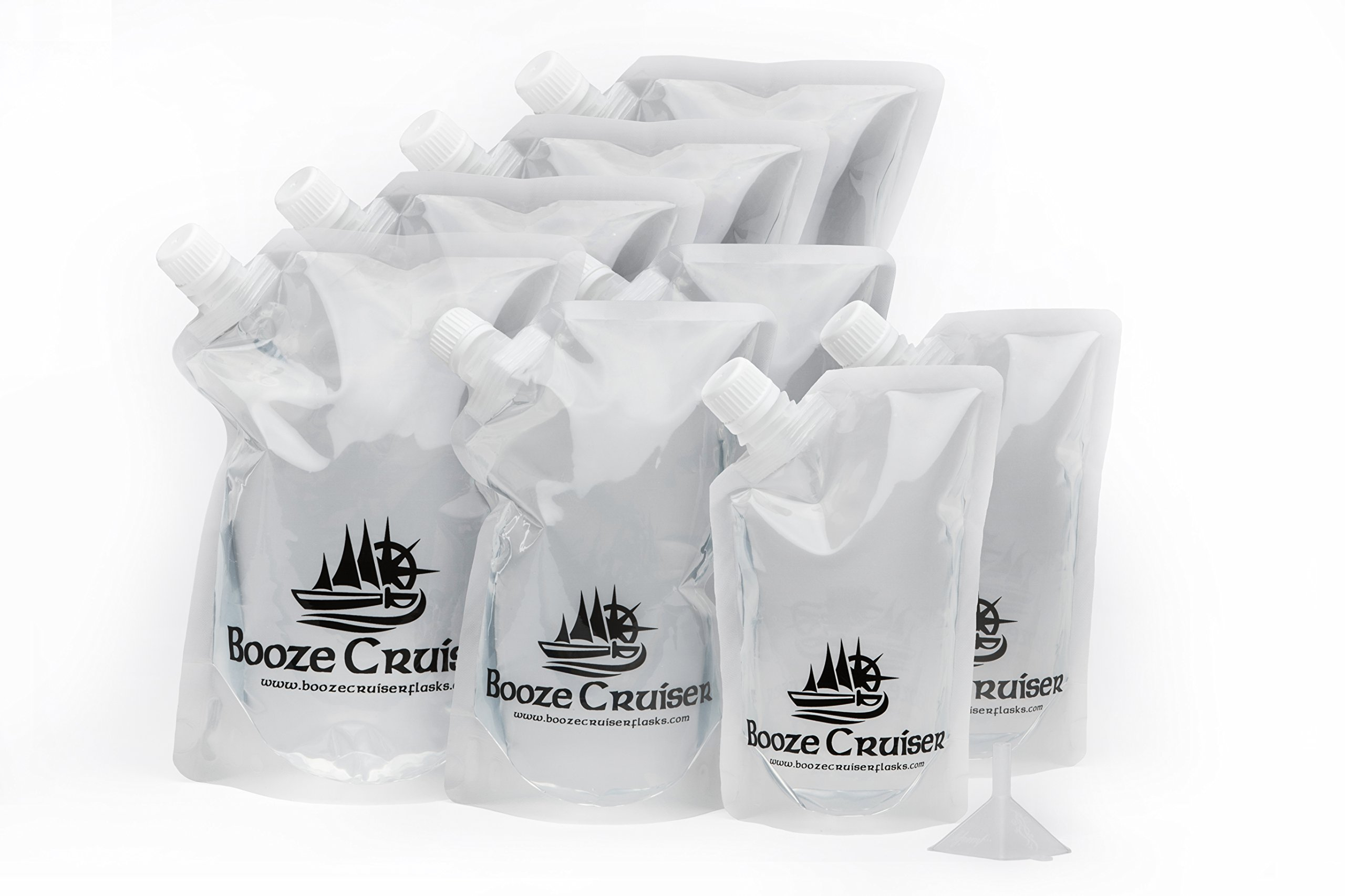 Booze Cruiser Travel Flasks Great for Sneaking Alcohol Anywhere You Want a Rum Runner Cocktail (4x32oz, 2x16oz, 2x8oz + Funnel)