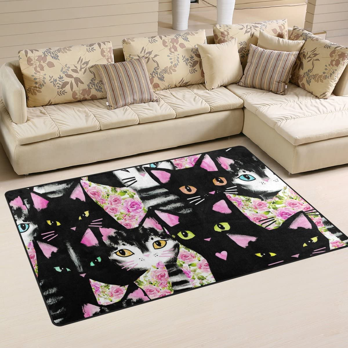 WOZO Black Cat Kitten Rose Flower Area Rug Rugs Non-Slip Floor Mat Doormat
