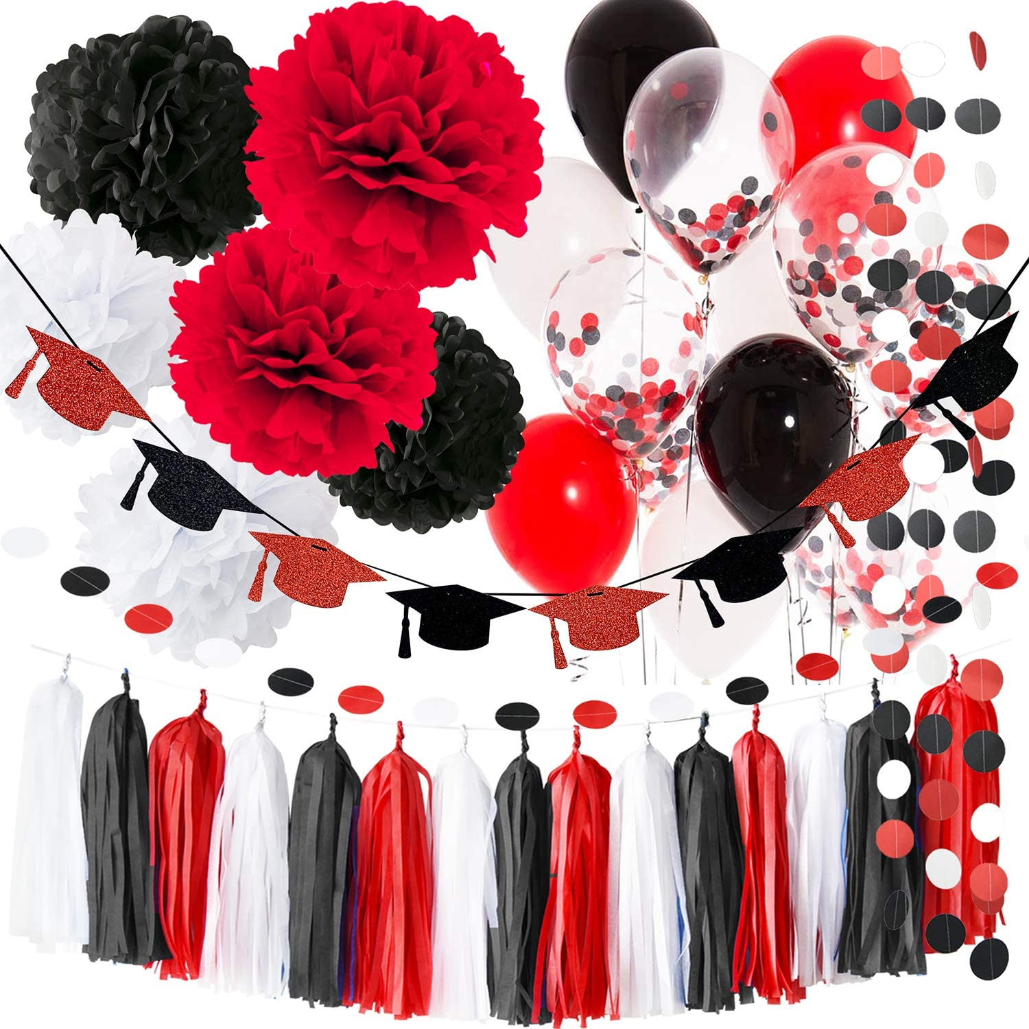 Amazon Com Black And Red Graduation Decorations 2021 White Party Supplies Balloons Glitter Grad Cap Garland Minnie Mouse Birthday Toys Games