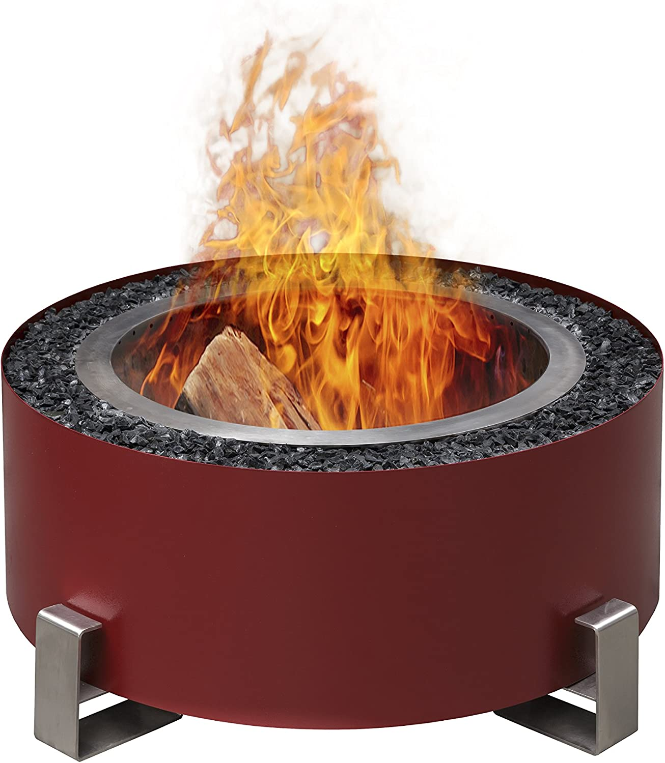 Luxeve The Patio Fire Pit Smoke Reducing Made From 304 Stainless Steel And Built In America Wall Color Red Glass Color Amber Brown Amazon Co Uk Garden Outdoors