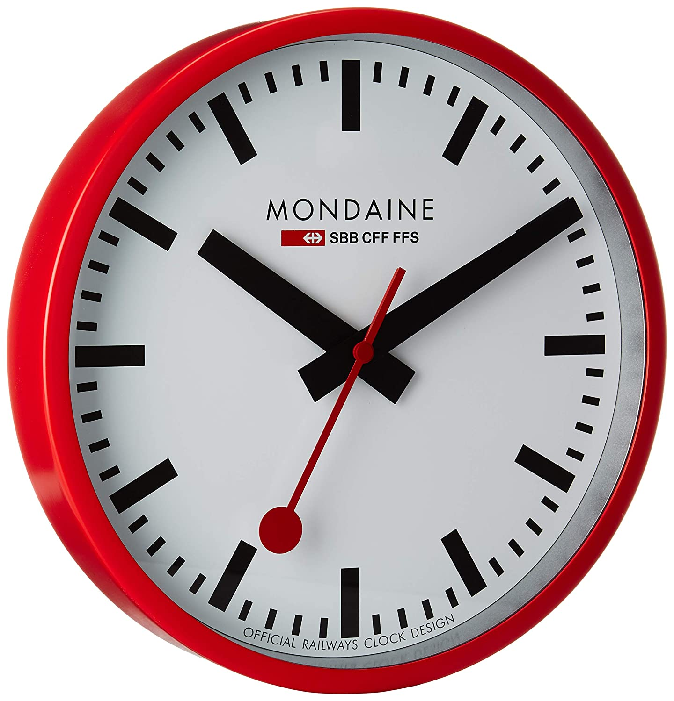 Mondaine Offizielle Schweizer Bahnhofsuhr, Wanduhr Rot, ø 25cm
