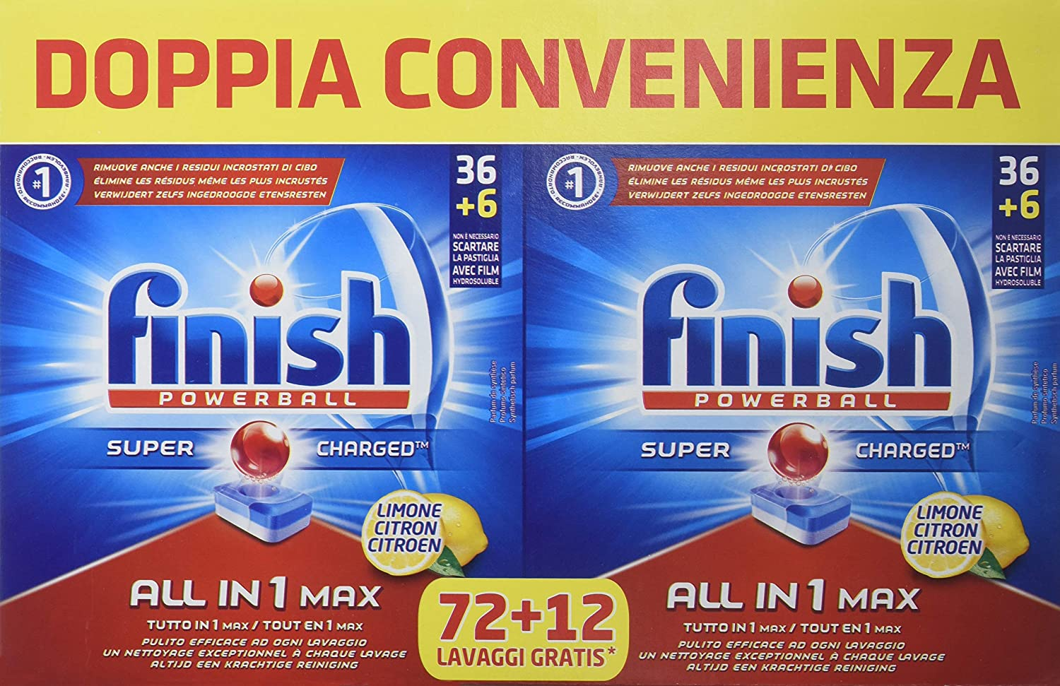 Finish All in 1, Pastillas para lavavajillas, Limón, 84 pestañas ...