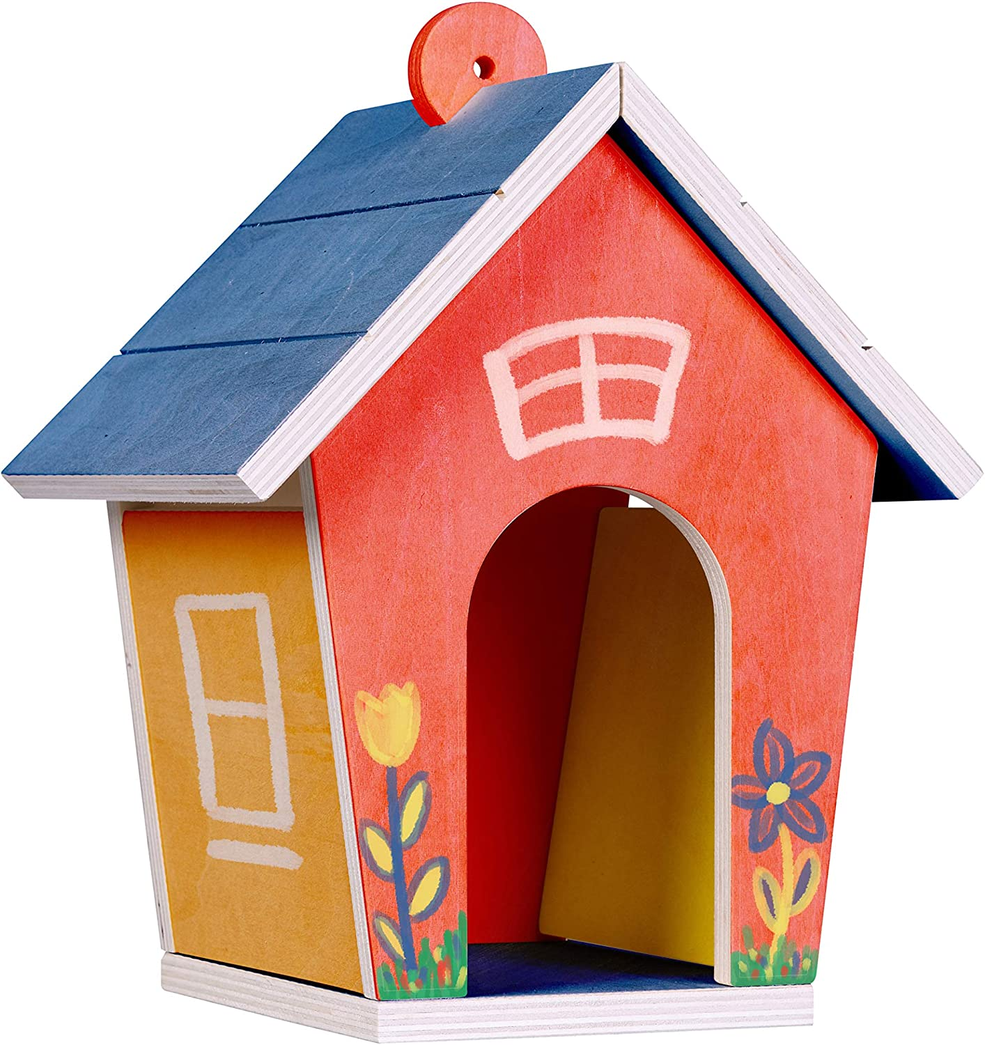 Six Colors of Paint with Paintbrush Area for Bird Feed Birdhouse kit for Kids to Build and Paint DIY kit for Children