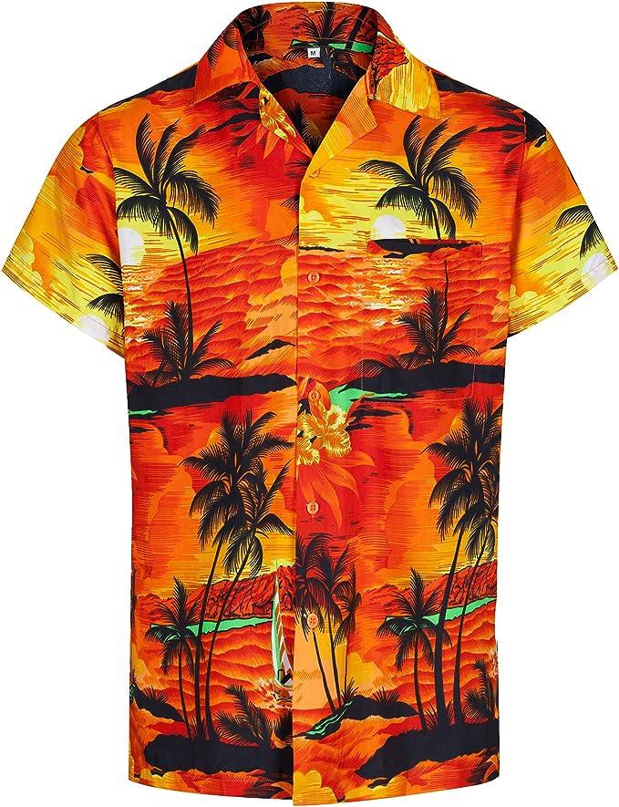 Redstar Fancy Dress - Camisa Hawaiana de Manga Corta - para Hombre - Aloha Verano - Todas Las Tallas - Naranja - L: Amazon.es: Ropa y accesorios