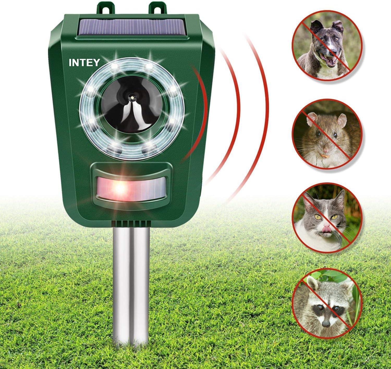 INTEY Cat Repeller Power Ultrasonic Animal Repeller, Outdoor Waterproof Cat Fox Dog Scarer Deterrent with Speaker for Garden Yard Field Farm