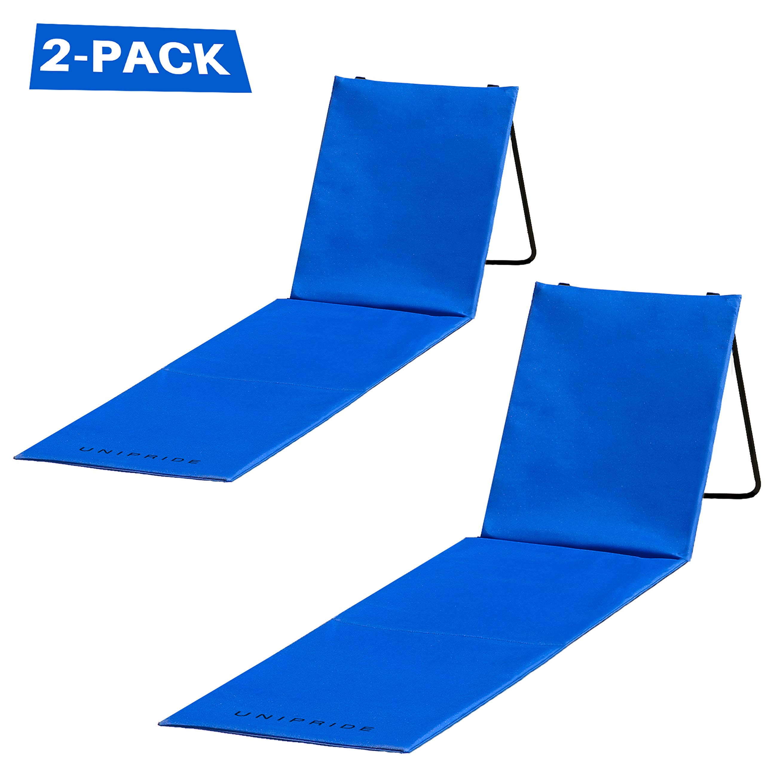 Two Beach Chairs with Backrest - 2-Pack Lounger - Comfortable, Lightweight, Portable and Easy to Carry Around - Use Also As Picnic Or Park Chair by UNIPRIDE