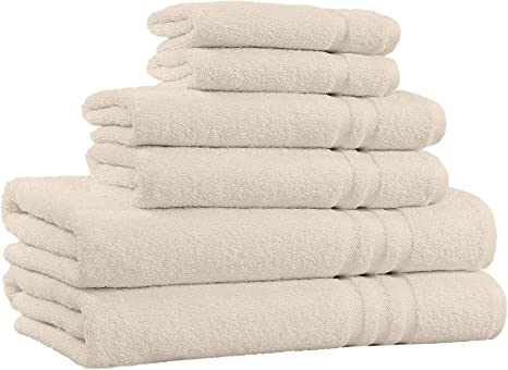 Amazon Com 100 Cotton 6 Piece Towel Set 2 Bath Towels 2 Hand Towels And 2 Washcloths Super Soft Hotel Quality High Absorbent Quick Dry Towel And Fade Resistant 650 Gsm