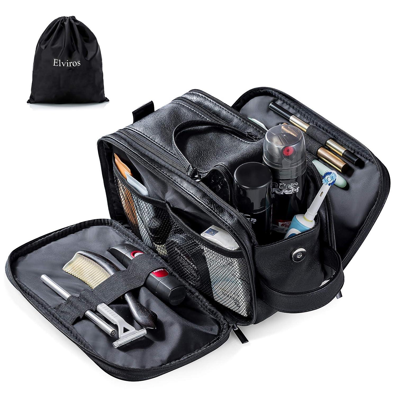 Toiletry Bag for Men Large Travel Shaving Dopp Kit Water-resistant Bathroom Toiletries Organizer PU Leather Cosmetic Bags