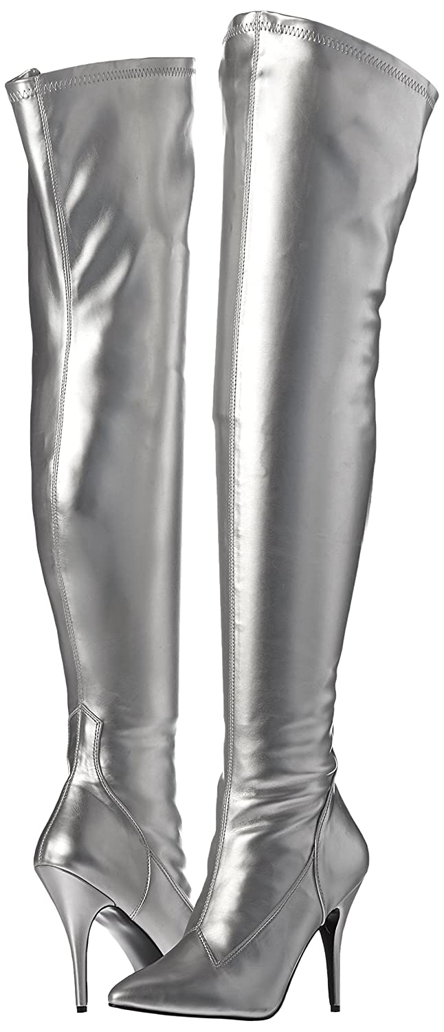 Pleaser Women's SED3000/S/PU Boot B001AU8PL0 6 B(M) US Silver Stretch Faux Leather
