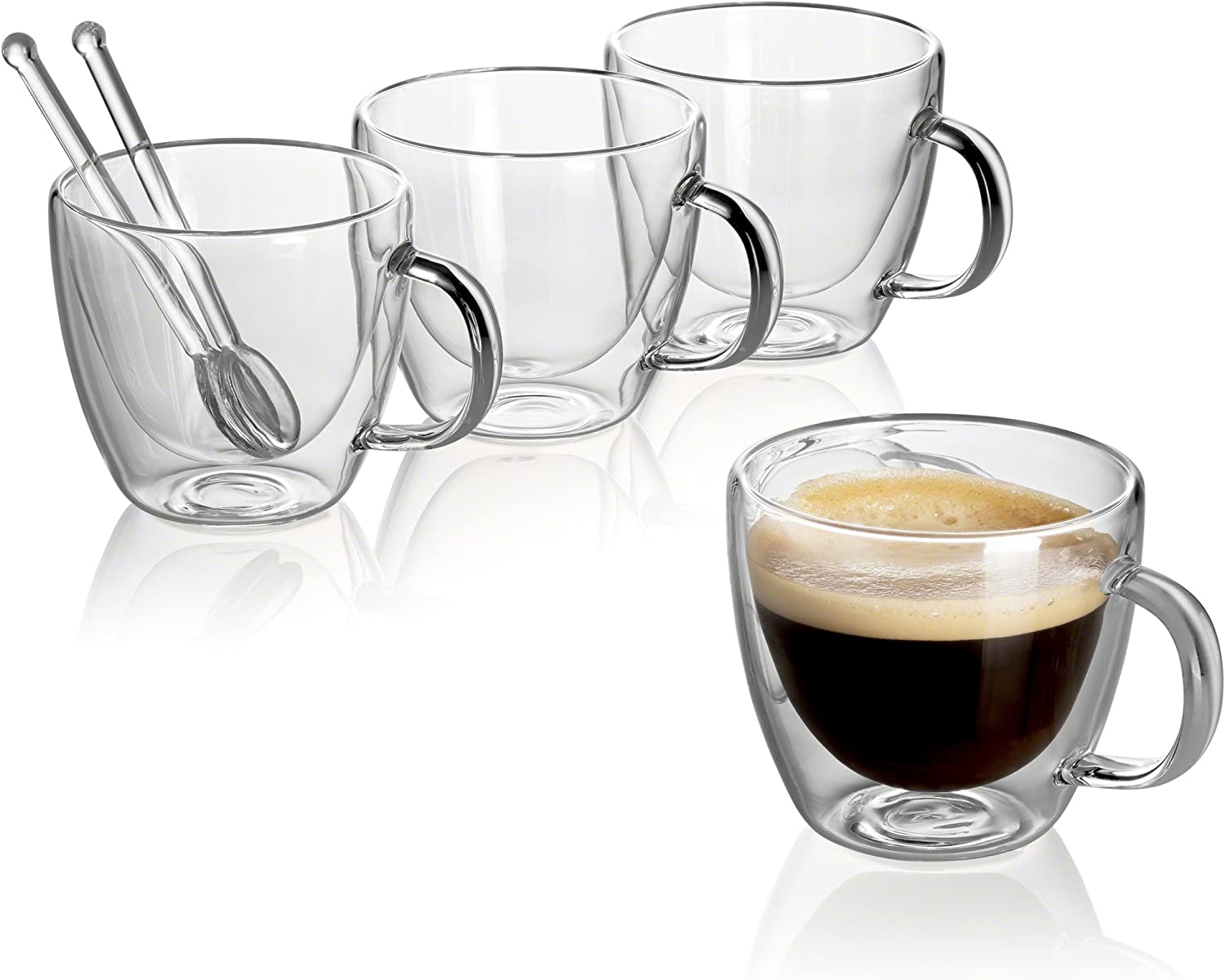 Jecobi R Cafecito Extra Strong Double Wall Insulated Glasses Espresso Mugs Set Of 4 5 2 Oz 150ml Plus 2 Mini Coffee Spoon Glass Amazon Co Uk Kitchen Home