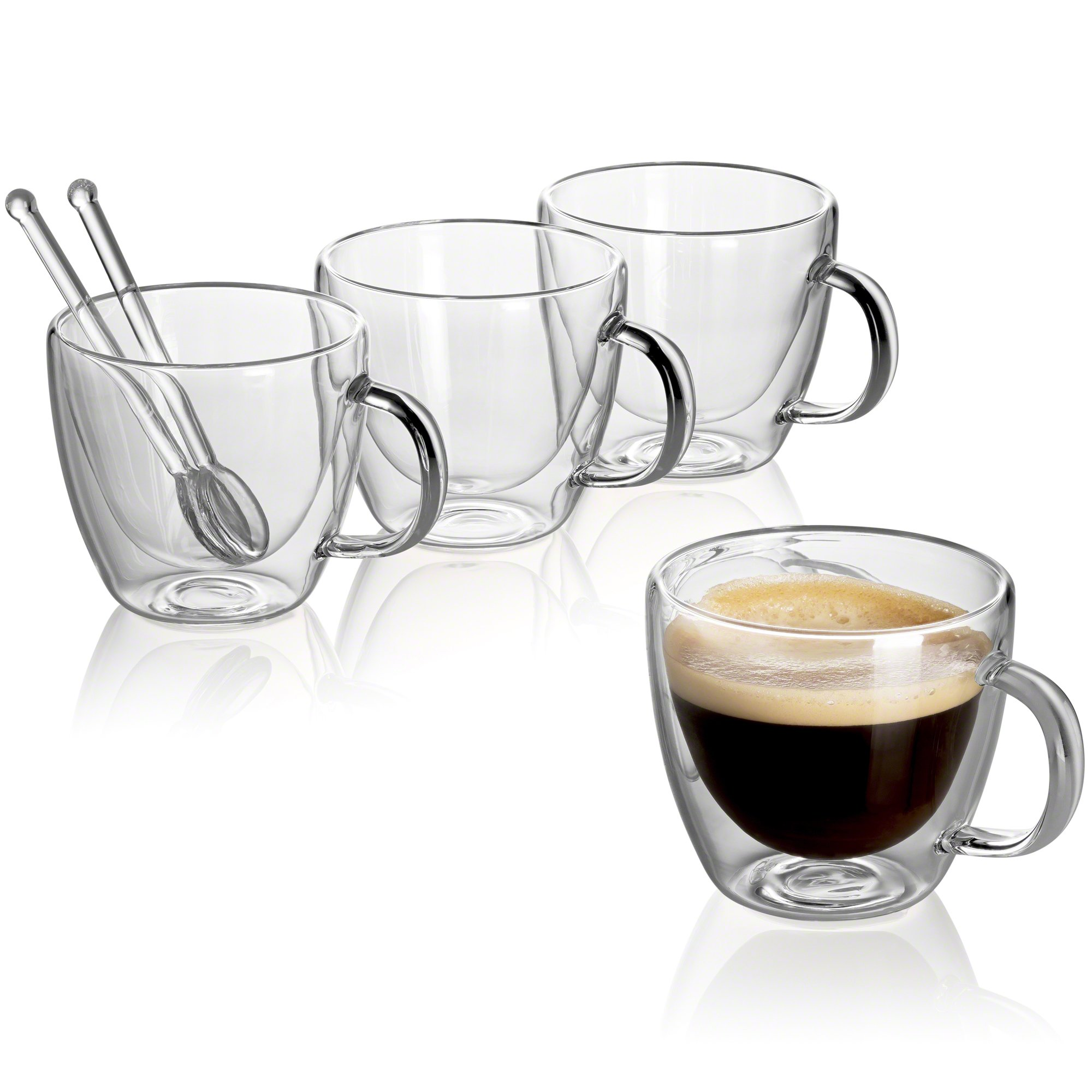 Jecobi(R) Cafecito Extra-Strong Double Wall Insulated glasses Espresso Mugs Set of 4, 5.2 OZ | 150ML plus 2 Mini Coffee Spoon (glass)