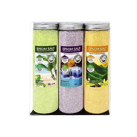 Nortembio Sales de Epsom Pack 3 x 430 g. Fragancias de Vainilla, Rosas, Limón. Hidratadas con Vitamina C y E. Sales de Baño, Aromaterapia, Terapias de ...