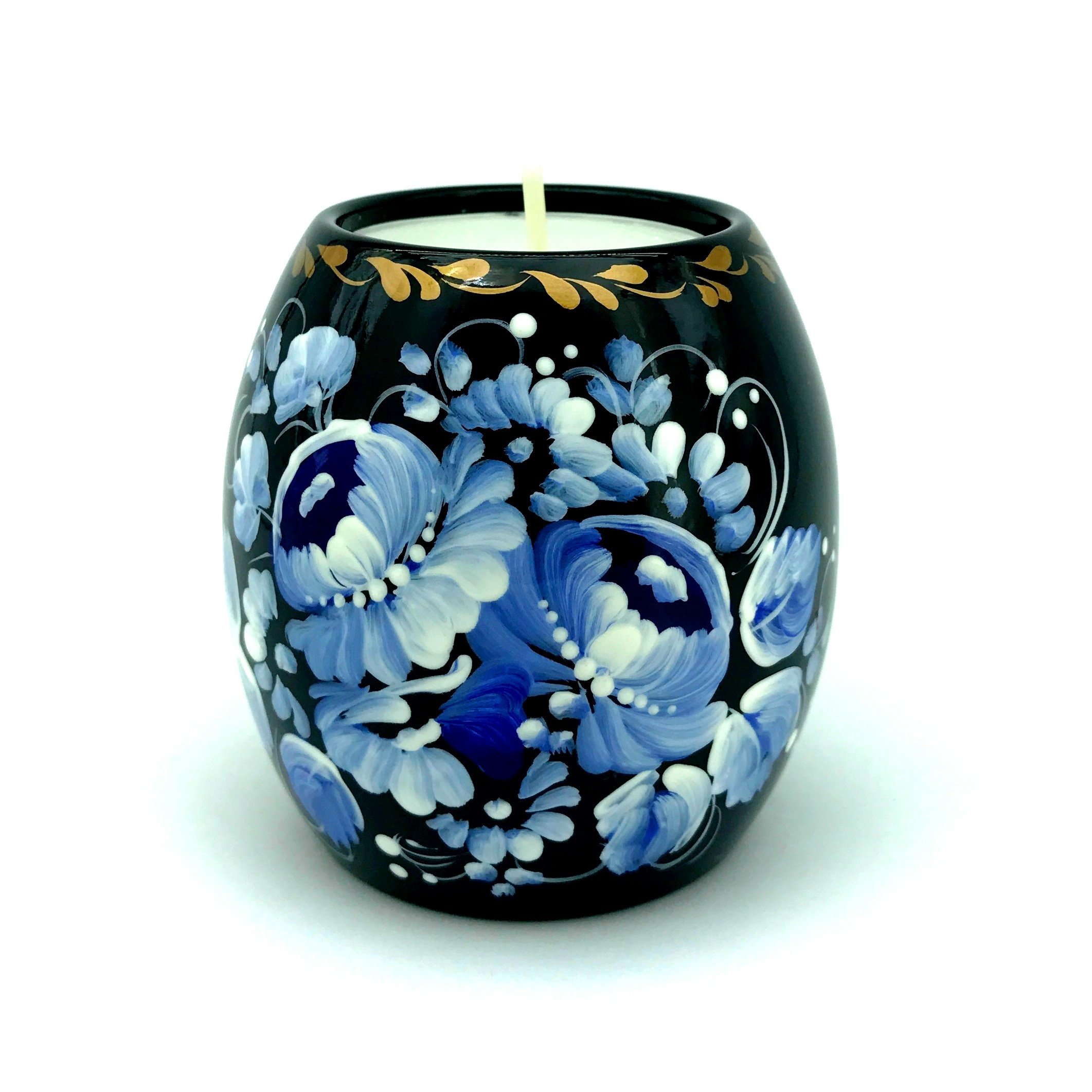 UA Creations Tealight candle holder hand painted ethnic floral design Christmas home décor accent gift for table, fireplace, living room, office or ethnic restaurant (Black and Blue) by UA Creations