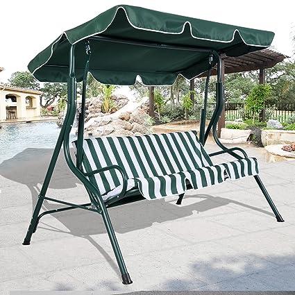 swings 3 person patio swing outdoor canopy awning yard - Patio Swings