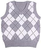 Enimay Kids Knit Sweater Vest V-Neck Argyle Pattern Pullover Grey | White 7-8 Year
