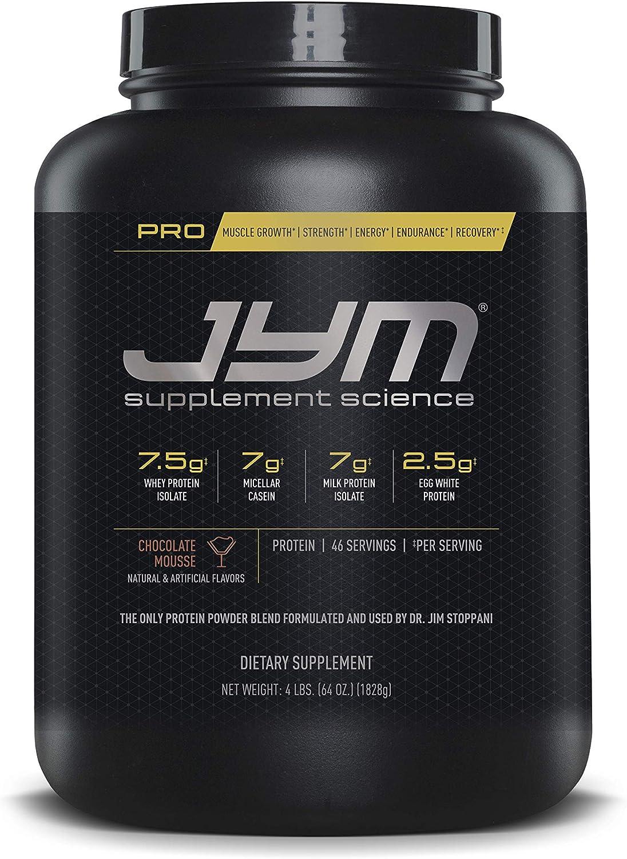Pro JYM Protein Powder – Egg White, Milk, Whey Protein Isolates Micellar Casein JYM Supplement Science Chocolate Mousse Flavor, 4 lb