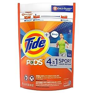 Tide Pods Plus Febreze Sport Odor Defense Laundry Pacs, Active Fresh, 32 Count