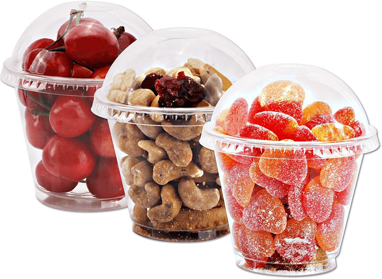 9 oz Clear Plastic Cups with Lids - 25 Sets Dessert Cups with Dome Lids (NO HOLE), Crystal PET Parfait Cups with Lids, Disposable Party Cups for Fruit/Ice Cream/Cupcake/Iced Cold Drinks