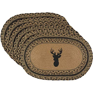 VHC Brands Classic Country Rustic & Lodge Tabletop & Kitchen - Trophy Mount Tan Jute Placemat Set of 6