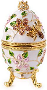 Apropos Hand- Painted Vintage Style Bee and Flowers Faberge Egg with Rich Enamel and Sparkling Rhinestones Jewelry Trinket Box (White)