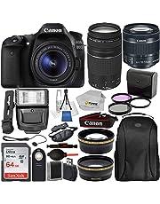 $999 Get Canon EOS 80D DSLR Camera with EF-S 18-55mm IS STM & EF 75-300mm Lenses & 19PC Professional Bundle – Includes: SanDisk Ultra 64GB SDXC Memory Card + Digital Slave Flash + MORE - International Version