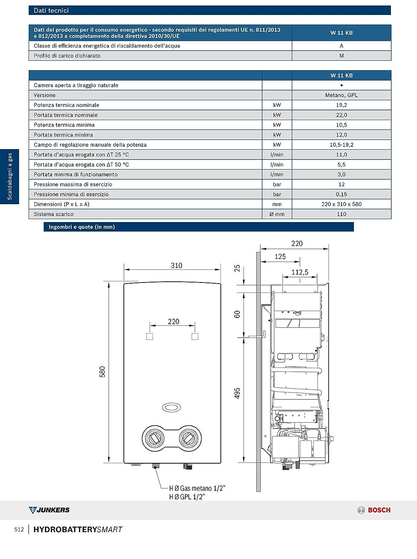 Termotanque a GAS de Bosch HYDROBATTERY SMART 11LT habitación abierta Gpl: Amazon.es: Hogar