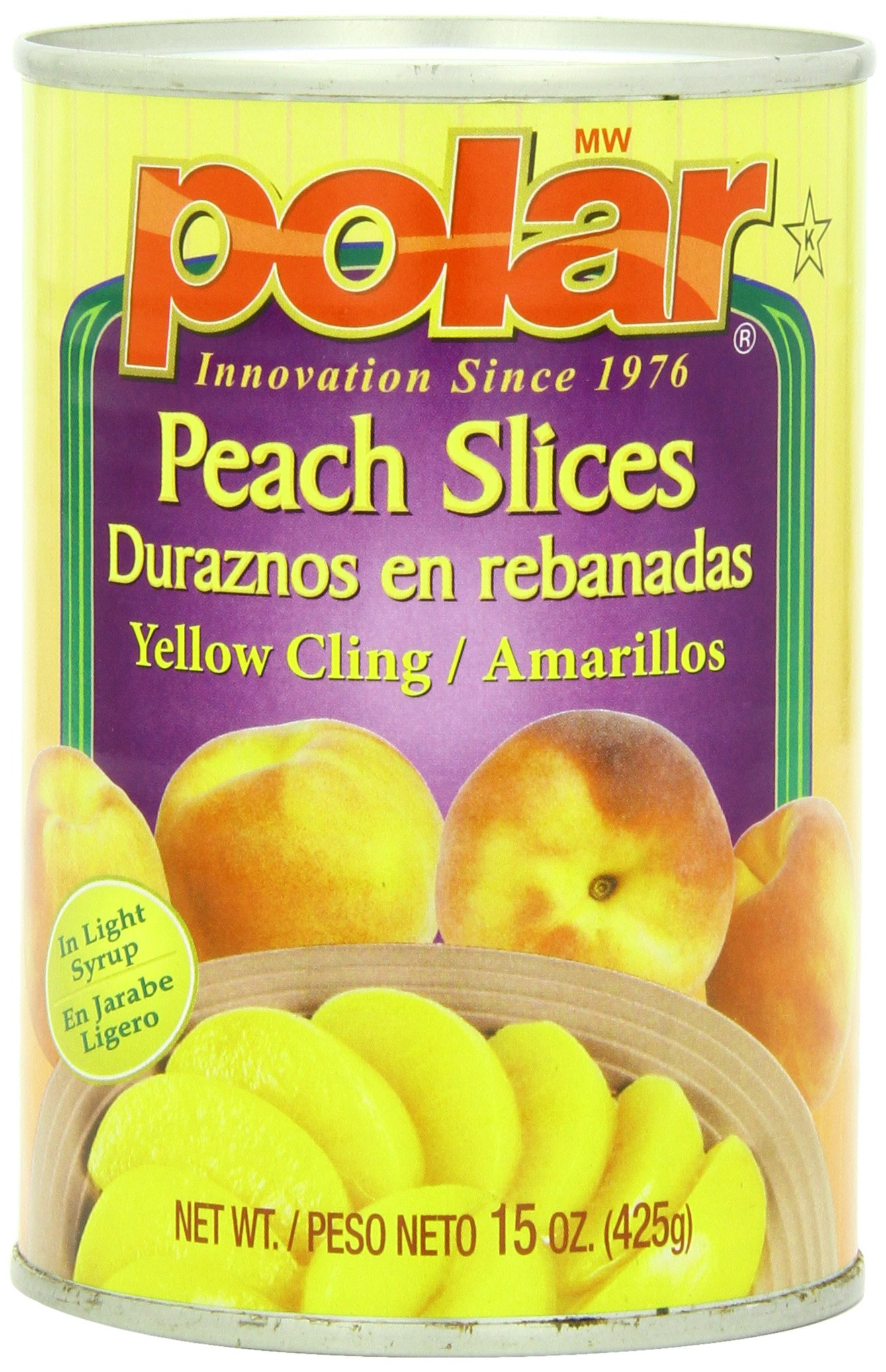 MW Polar Canned Fruit, Peach Slices in Light Syrup, 15 Ounce (Pack of 24)