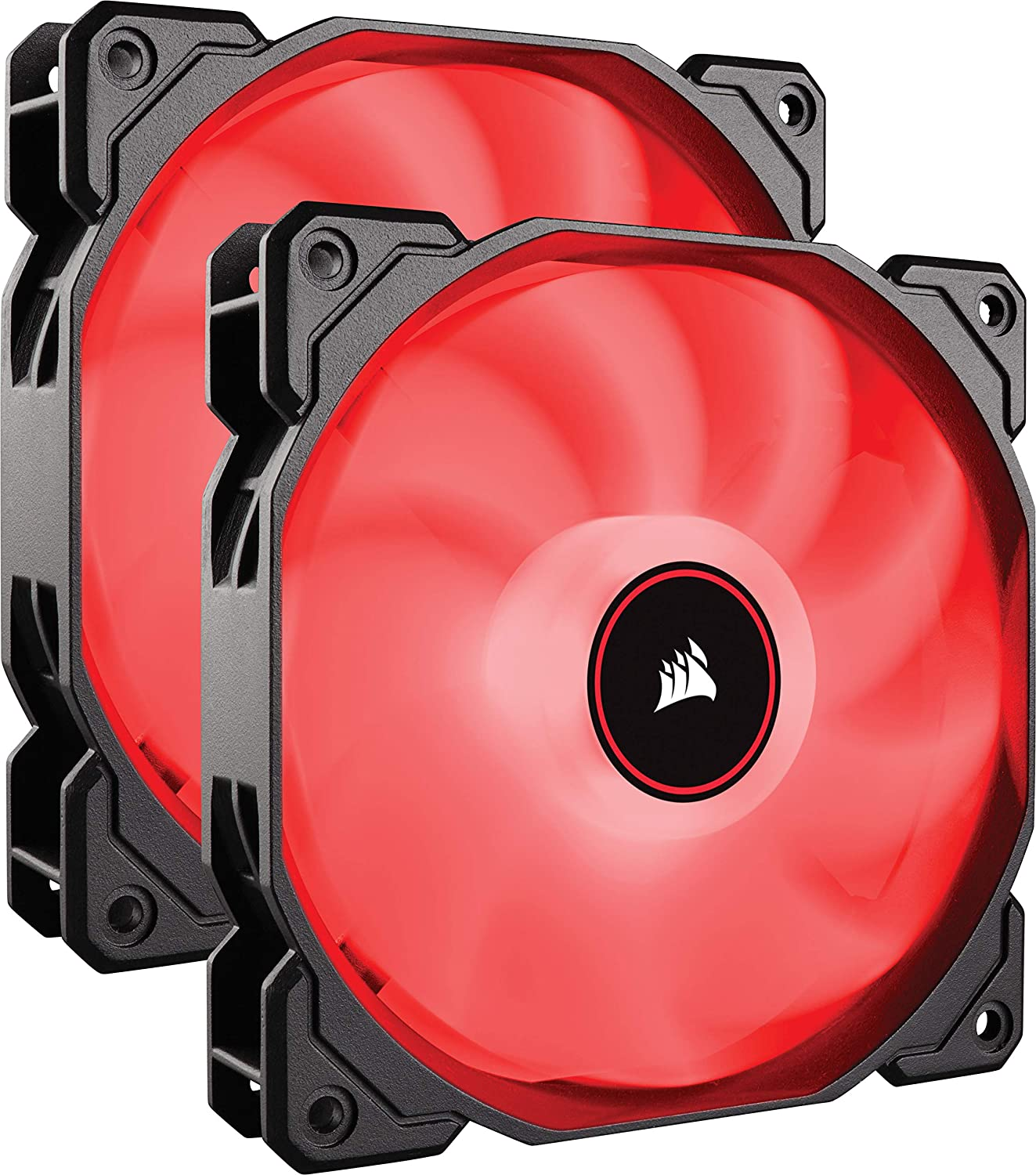 CORSAIR AF140 LED Low Noise Cooling Fan, Dual Pack - Red, 140 mm