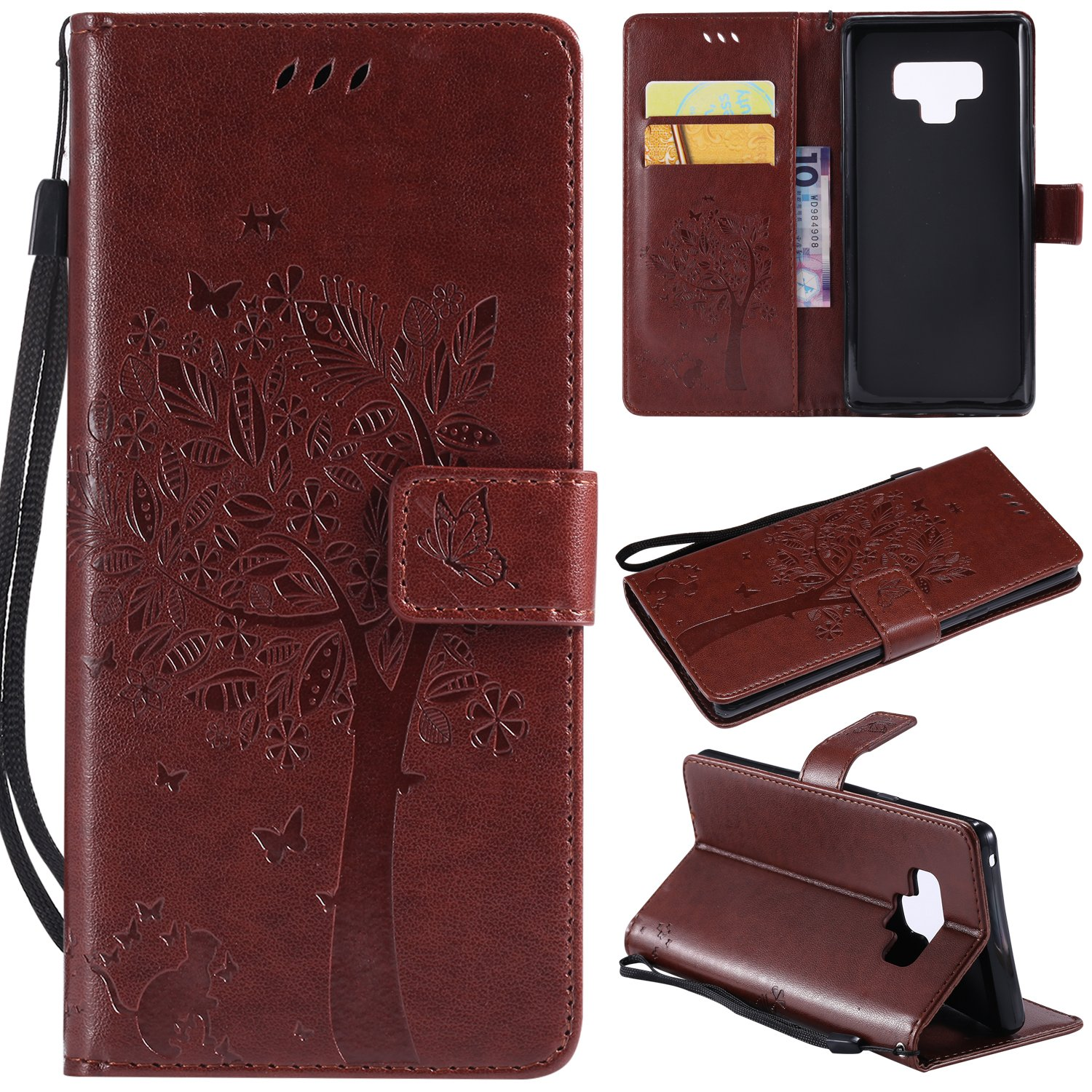 Flip Wallet Case for Samsung Galaxy Note 9, Gostyle Samsung Galaxy Note 9 PU Leather Gold Case Embossed Tree Butterfly Flower Pattern, Bookstyle with Card Slots Magnetic Closure Stand Cover