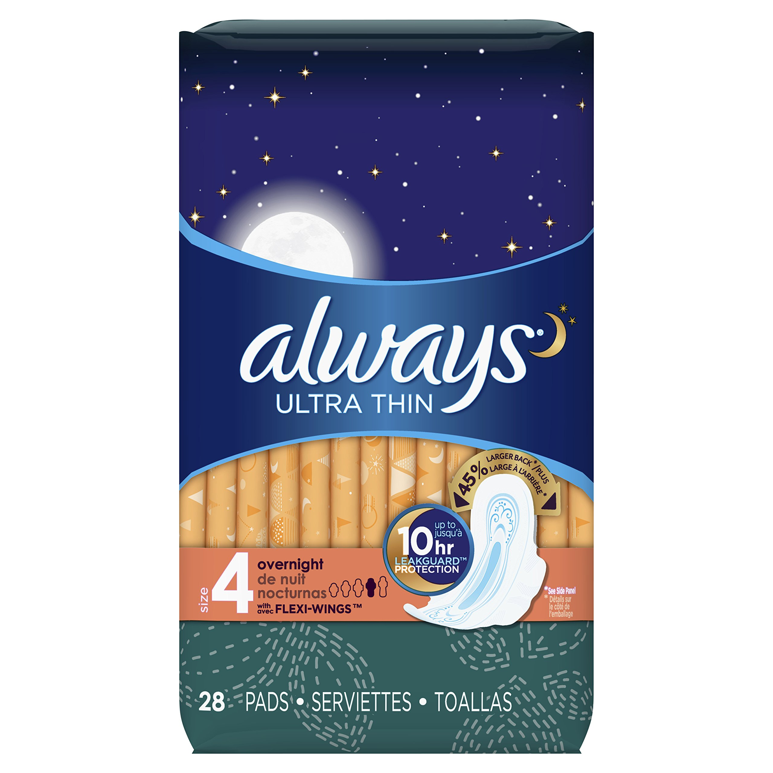 Always Ultra Thin Unscented Pads with Wings, Overnight, 28 Count (Pack of 2)
