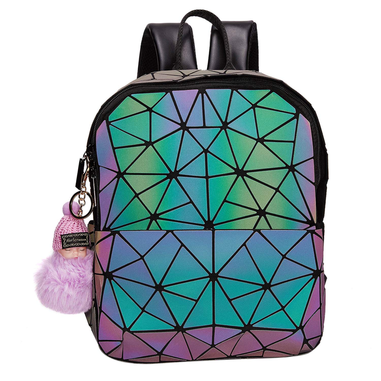 Geometric Handbag Luminous Women Tote Bag Holographich Purses and Handbags Flash Reflactive Crossbody Bag for Women (Zipper Backpack) by Harlermoon