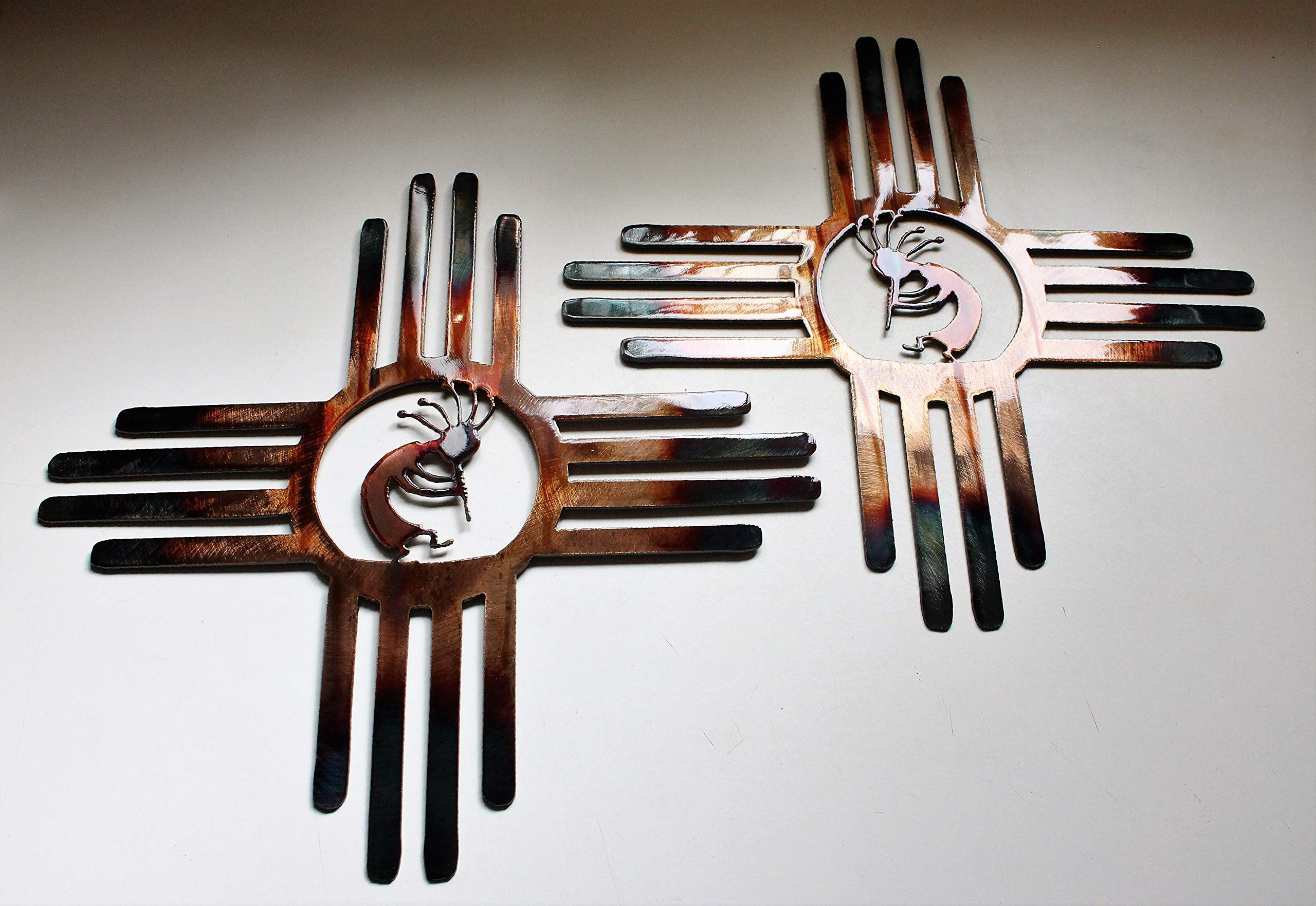 Southwestern Zia with Kokopelli Pair Left & Right Metal Wall Art Decor 14'' by HG Artworks