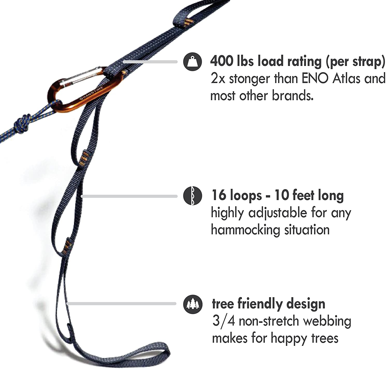 amazon     hangtime superstrap 16 hammock straps and carabiners   climbing grade webbing xl adjustable tree friendly straps  u0026 2 heavy duty aluminum     amazon     hangtime superstrap 16 hammock straps and carabiners      rh   amazon