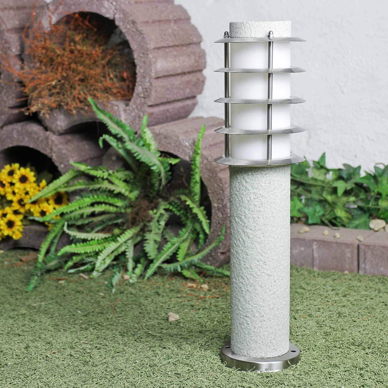Lampadaire en acier inoxydable argent/é avec pierre IP44 /Ø 8 cm E27 Hauteur 44 cm /Éclairage ext/érieur Jardin Hof
