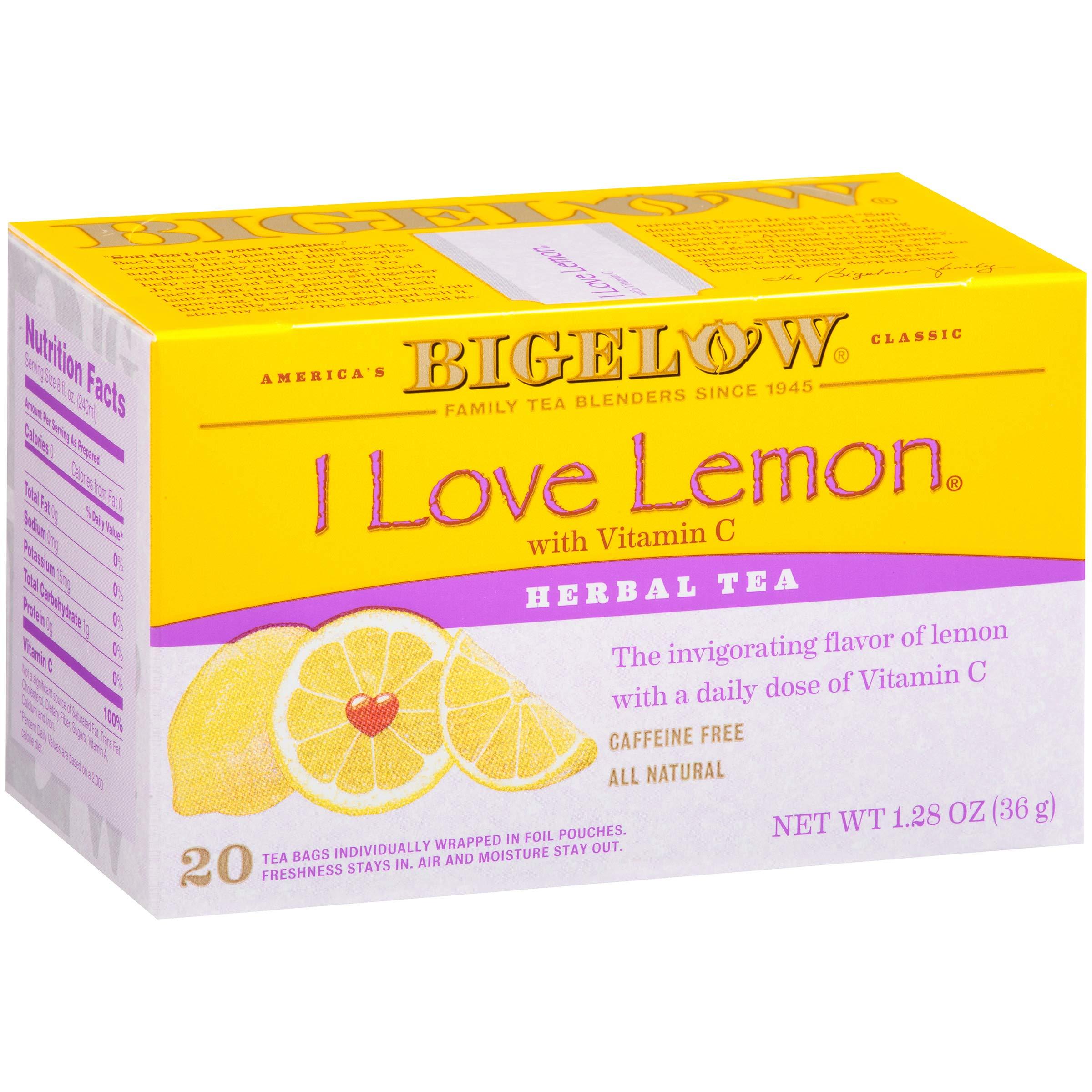 Bigelow I Love Lemon Herbal Tea Bags 20-Count Boxes (Pack of 6), 120 Tea Bags Total.  Caffeine-Free Individual Herbal Tisane Bags, for Hot Tea or Iced Tea, Drink Plain or Sweetened with Honey or Sugar by Bigelow