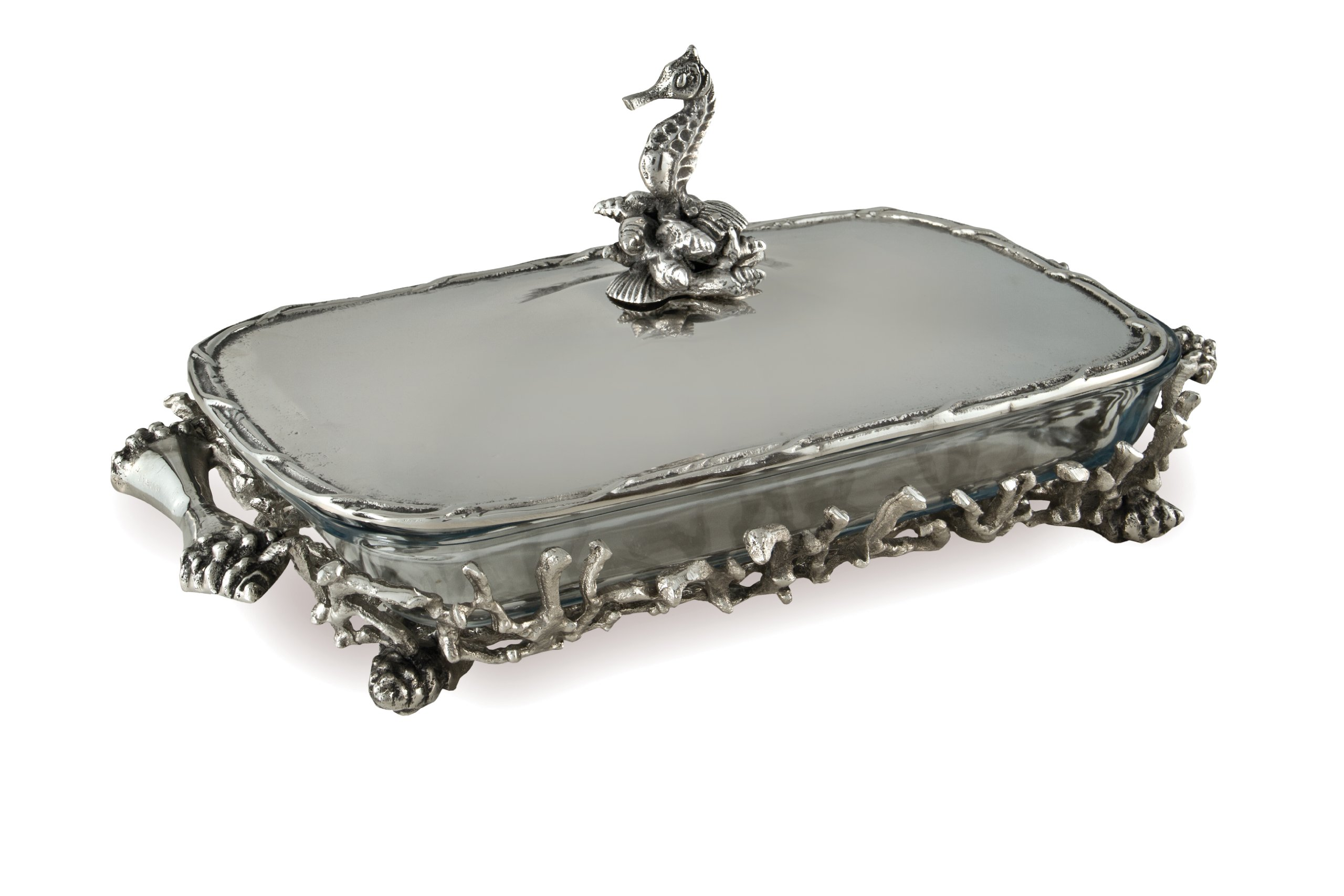 Star Home Coquilles Seahorse and Coral Covered Rectangle Baker