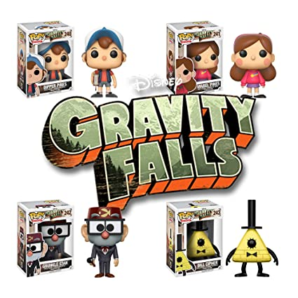 Gravity Falls Dipper Pines, Mabel Pines, Grunkle Stan and Bill Cipher Pop!  Vinyl Figures Set of 4