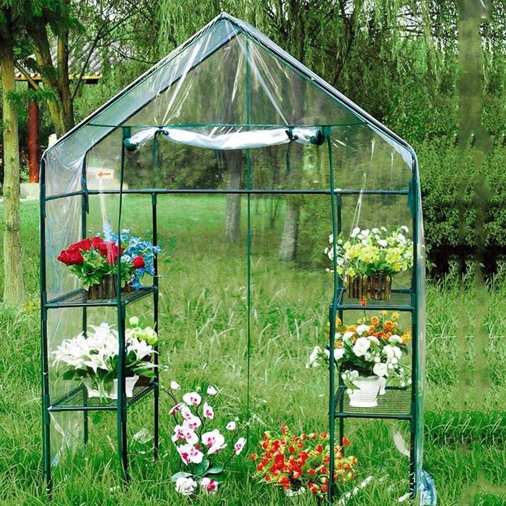 Portable Mini Garden Greenhouse, Walk-in Green House Indoor Outdoor Plant Shelves, for Grow Plants Seedlings Herbs Flowers, 14373195cm