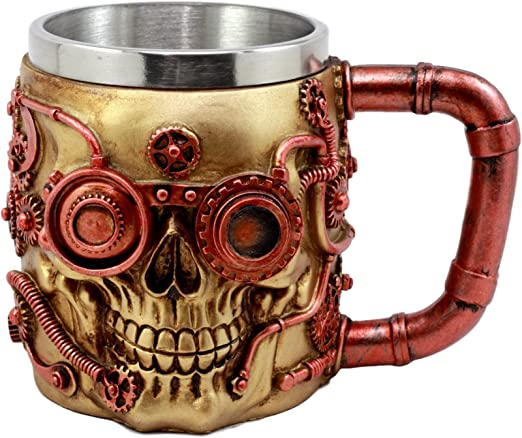 Amazon Com Ebros Gift Golden Steampunk Detective Skull Coffee Mug With Painted Mechanical Gearwork Red Pipeline Design Beer Stein Tankard Drink Cup 14oz Red Steampunk Skull Kitchen Dining