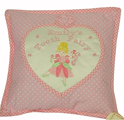 Personalised Tooth Fairy Pillow Approx 10 Square 100 Cotton Pink Polka Dots