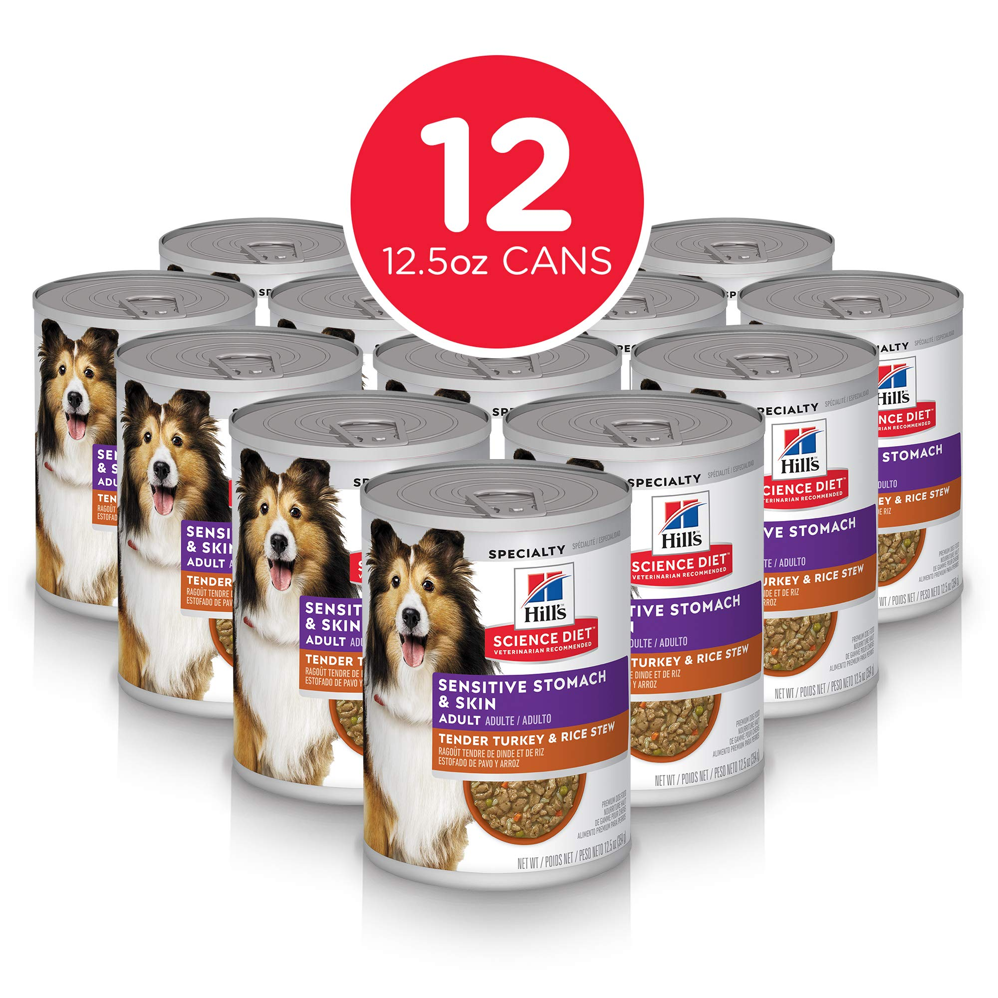 Hill's Science Diet Wet Dog Food, Adult, Sensitive Stomach & Skin, Tender Turkey & Rice Stew, 12.5 oz, 12-pack by Hill's Science Diet