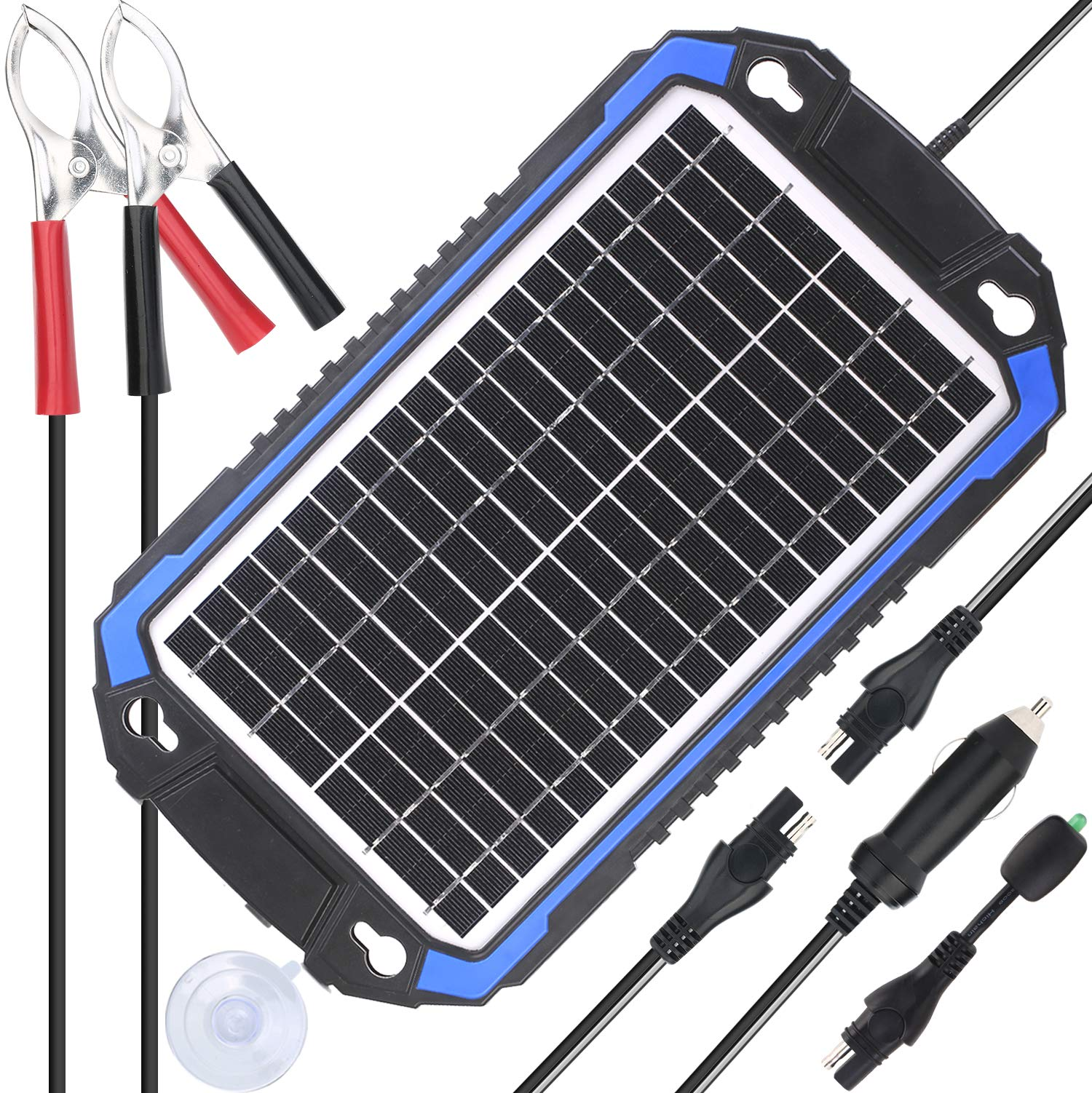 SUNER POWER 12V Solar Car Battery Charger & Maintainer - Portable 8W Solar Panel Trickle Charging Kit for Automotive, Motorcycle, Boat, Marine, RV, Trailer, Powersports, Snowmobile, etc. by SUNER POWER