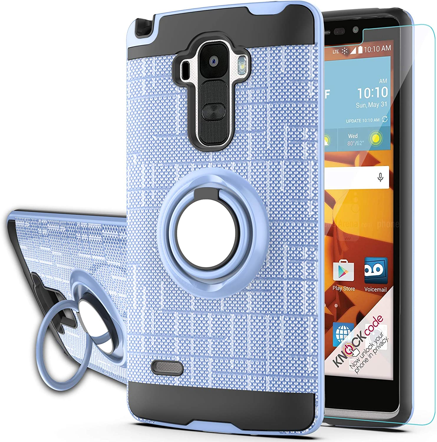 Ymhxcy for LG G4 Stylus Case,LG G Stylo Phone Case with HD Phone Screen Protector,(Not Fit LG G4) 360 Degree Rotating Ring & Bracket Dual Layer Resistant Back Cover for LS770 KC2-ZH Metal Slate