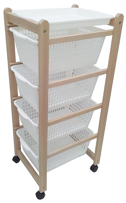 Carrito auxiliar de cocina para verdura, madera natural, con ruedas y bandeja