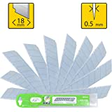 Box Cutter Utility Knife Replacement Blades (PACK of 10) - Heavy Duty SK2 Metal 18mm Snap Off Blade - Fits Most Retractable Knives - Stay Sharp 3X Long - Perfect for Hobby, Cardboard, Carpet, Rope
