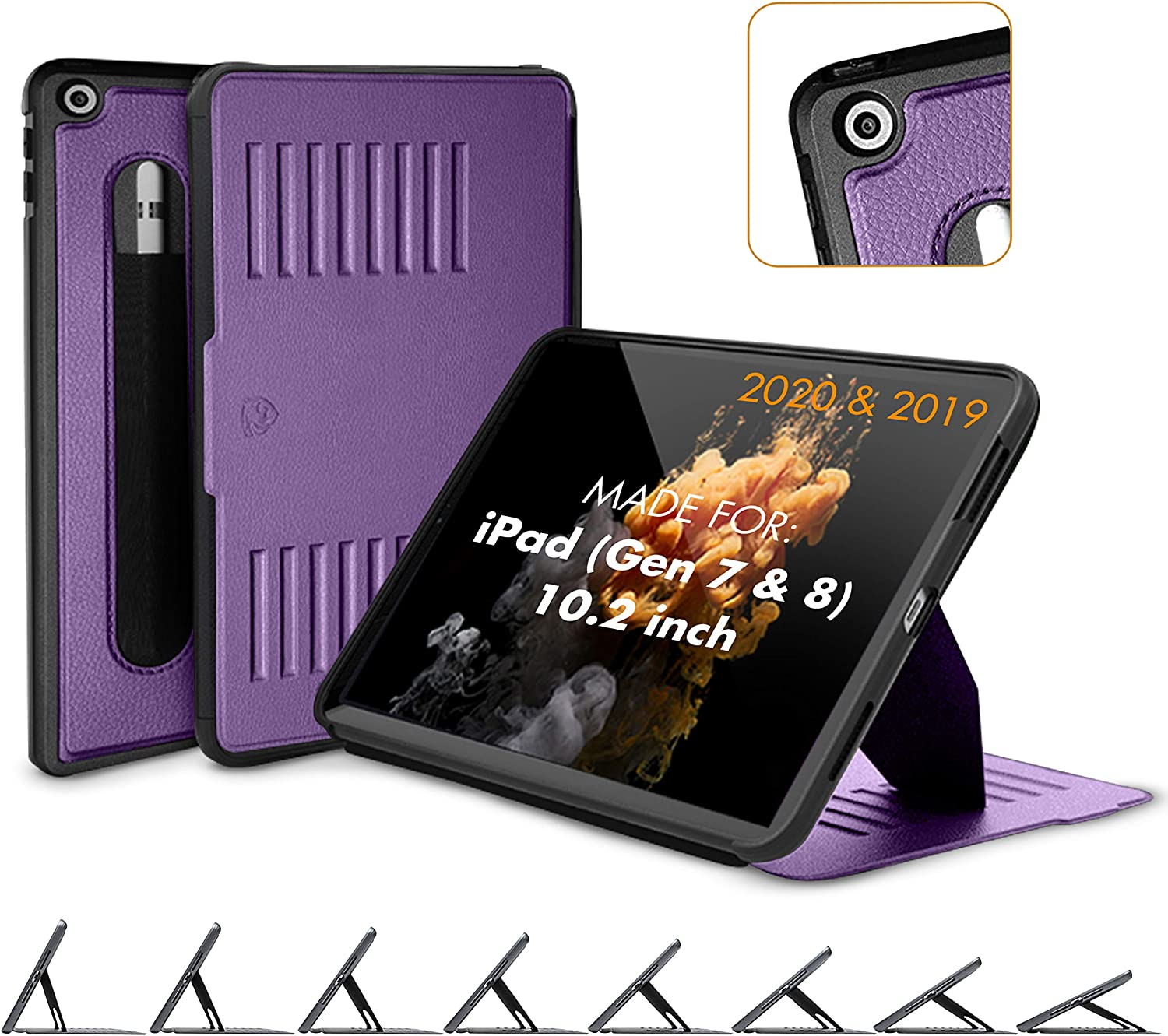 ZUGU CASE (New Model) Muse Case for iPad 10.2 Inch (2020/2019) Protective, Thin, Magnetic Stand, Sleep/Wake Cover - Purple - (Fits Model #s A2197 / A2198 / A2200 / ?A2270? / ?A2428 / ?A2429 / A2430?)