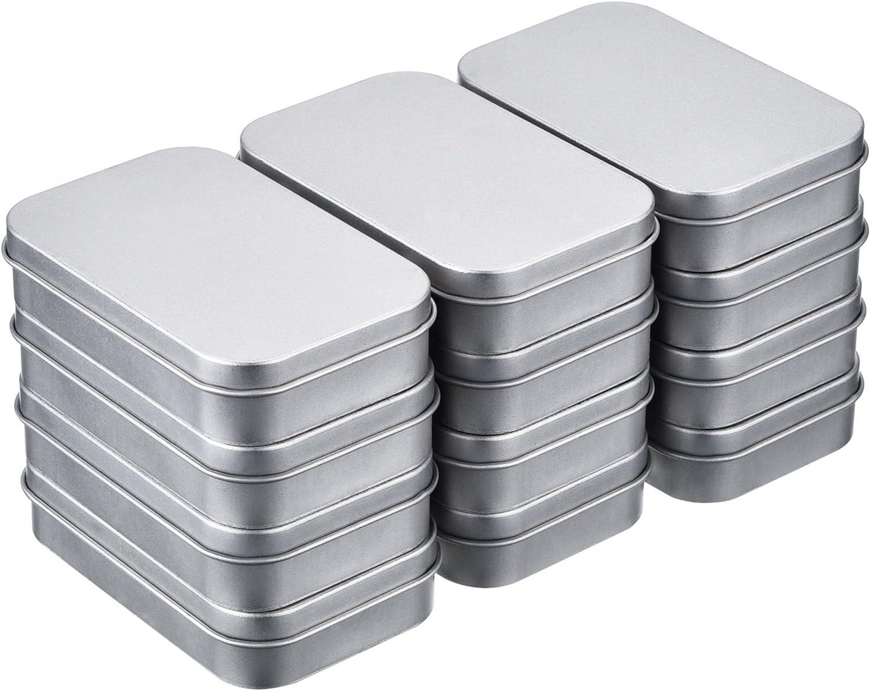 Shappy 12 Piezas 3,75 por 2,45 por 0,8 Pulgadas Latas de Bisagra Rectangular Contenedor Caja de Metal Plateado Mini Estuche Portátil Kit de Almacenaje Pequeño, Organizador de Hogar