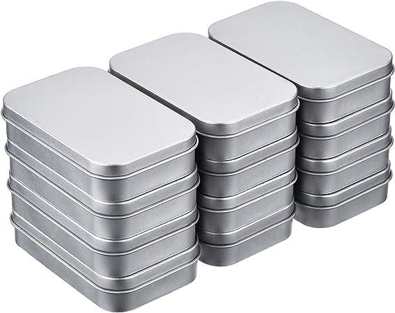 Shappy 12 Piezas 3,75 por 2,45 por 0,8 Pulgadas Latas de Bisagra Rectangular Contenedor Caja de Metal Plateado Mini Estuche Portátil Kit de Almacenaje Pequeño, Organizador de Hogar: Amazon.es: Hogar