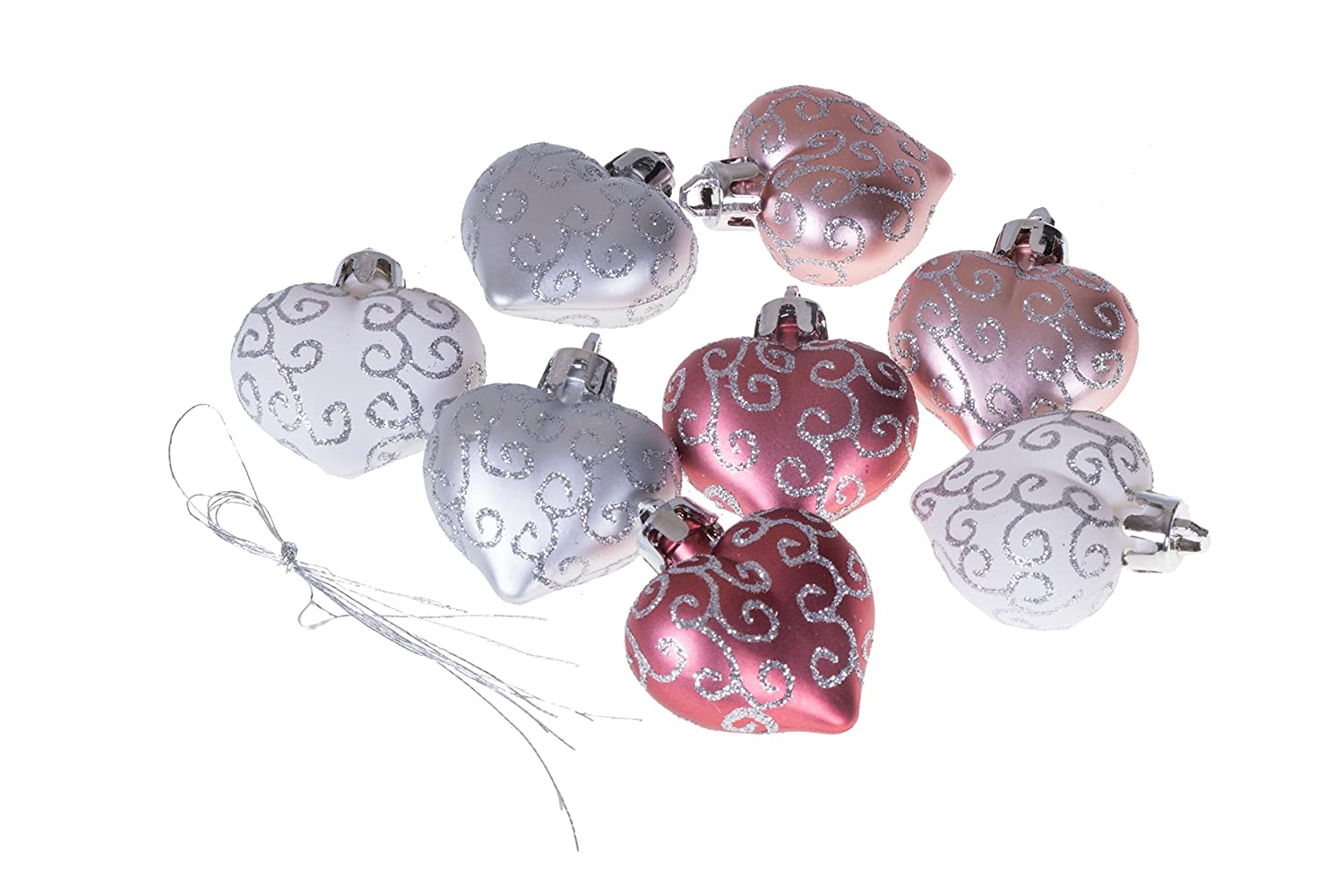 8 Pack Lightweight Shatter Resistant Design Festive Holiday Decor Hangers Included No Model 2 Tall Clever Creations Christmas Heart Ornament Set Small Pink and White Heart with Glitter