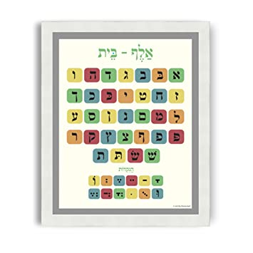 Amazon.com: Hebrew Alef Bet Poster with White Frame (22x26, Vintage ...